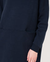 dark navy organic cotton dress relaxed fit  sleeve