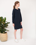 dark navy organic cotton dress relaxed fit side
