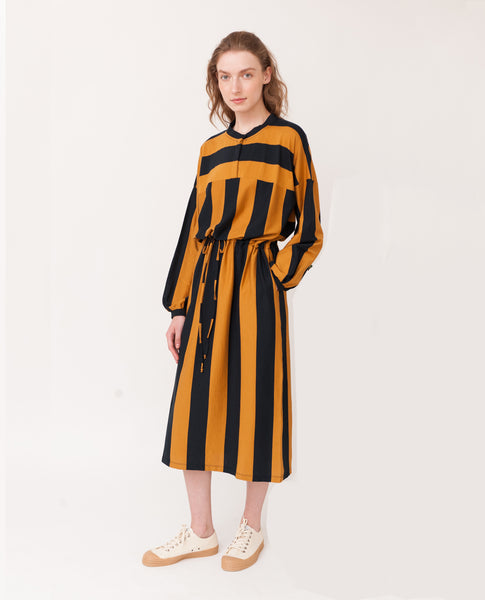navy and rust yellow large stripes organic cotton dress front