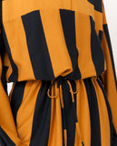navy and rust yellow large stripes organic cotton dress zoom