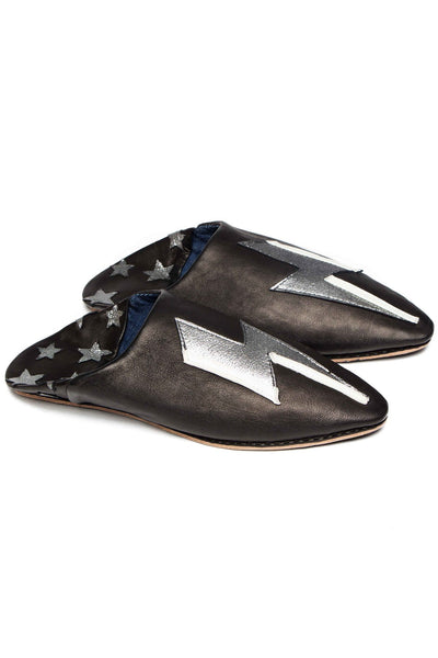 wonder leather babouche black and silver