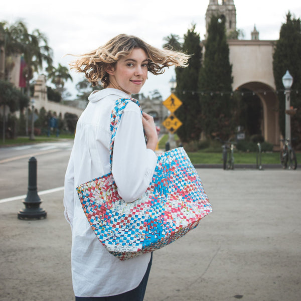 artisan made multicolor tote bag