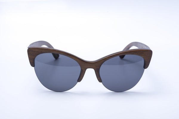 cat eye shaped semi-rimless black bamboo sunglasses
