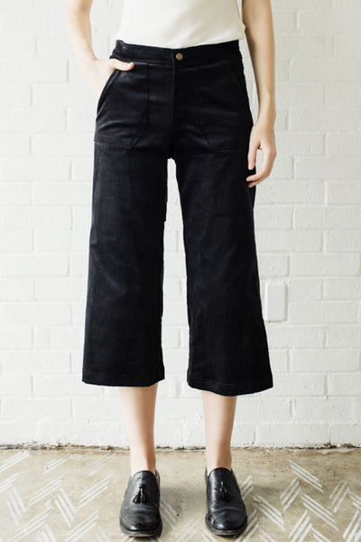 Raven and Lily Lucy Cropped Black Velvet Trouser