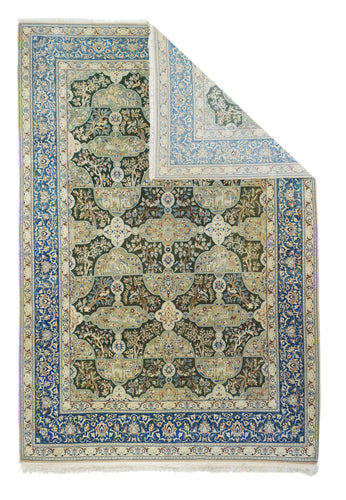Antique Green Nain Habibian Persian Area Rug