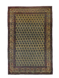 Antique Brown Lavar Kerman Persian Area Rug