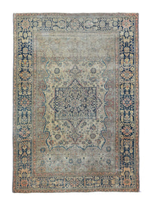 Antique Brown Mohtasham Kashan Persian Area Rug