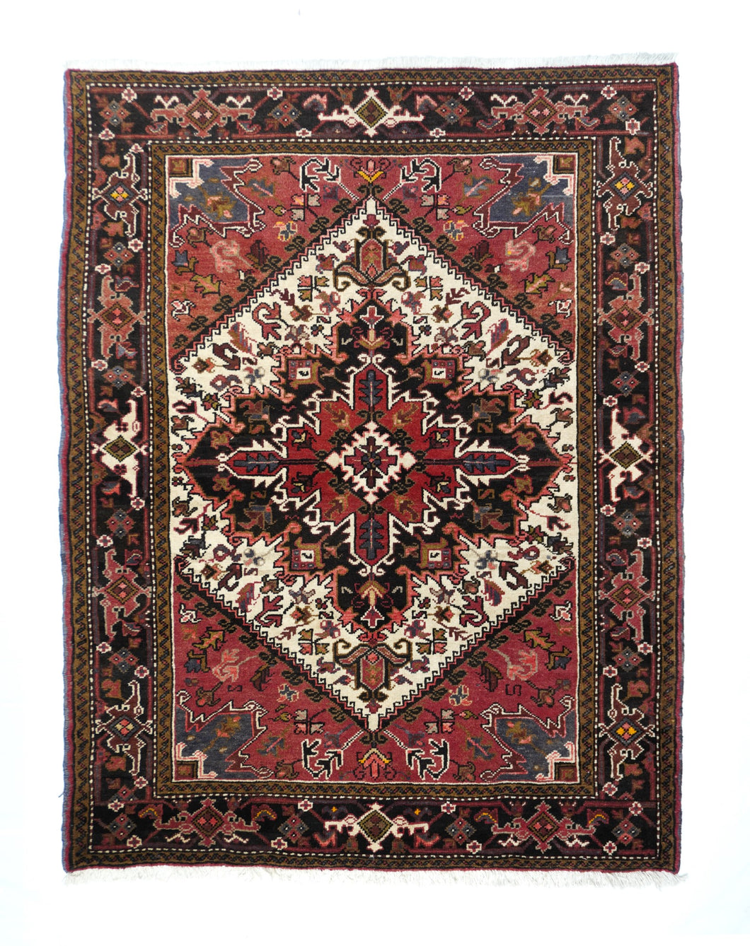 Semi Antique Rust Heriz Persian Area Rug
