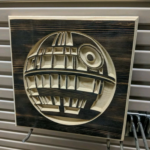 Death Star Engraved Wood Sign