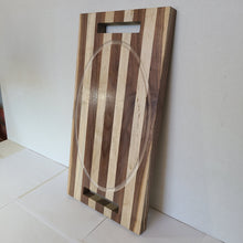 Load image into Gallery viewer, Black Walnut and Maple Cutting Board With Engraved Oval Drip Tray and Handles