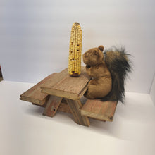 Load image into Gallery viewer, Squirrel Picnic Table Reclaimed Barnwood