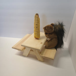 Squirrel Picnic Table Raw Wood with Decrative Edges