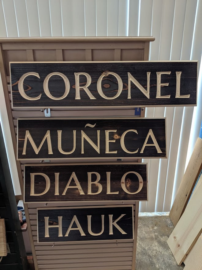Customizable Engraved Wood Name Sign Roman Font