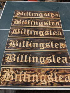 Customizable Engraved Wood Name Sign Old English Font