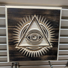 Load image into Gallery viewer, Eye of Providence Engraved Wood Sign