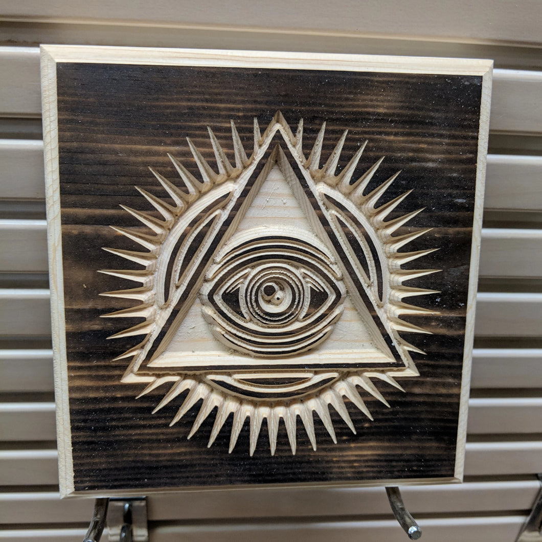 Eye of Providence Engraved Wood Sign