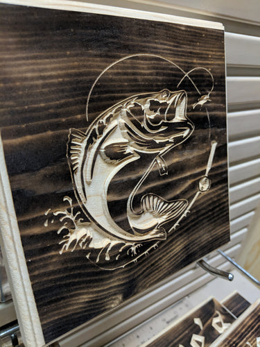 Bass Fish Engraved Wood Sign