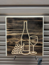 Load image into Gallery viewer, Wine, wine glass, grapes Engraved Wood Sign