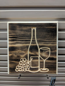 Wine, wine glass, grapes Engraved Wood Sign