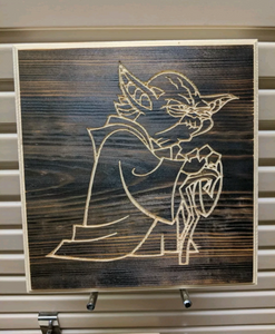 Yoda Engraved Wood Sign