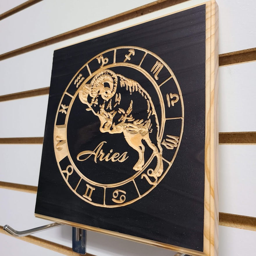 Aries Zodiac Engraved Wood Sign