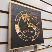 Load image into Gallery viewer, Aries Zodiac Engraved Wood Sign
