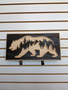 Bear and Forest Engraved Wood Sign
