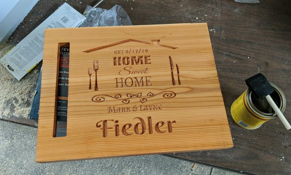 Customizable Red Cedar Wedding Gift, Anniversary Gift, Closing Gift, Decorative Engraved Cutting Board