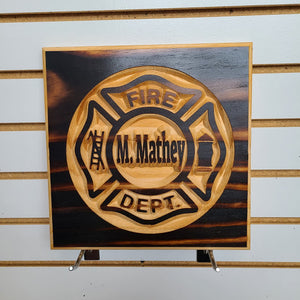 Customizable Fire Department Engraved Wood Sign