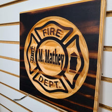 Load image into Gallery viewer, Customizable Fire Department Engraved Wood Sign