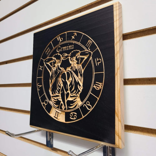 Gemini Zodiac Engraved Wood Sign