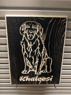 Customizable Golden Retriever Sitting Dog Name Engraved Wood Sign