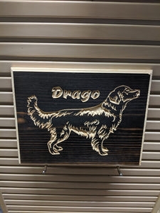 Customizable Golden Retriever Dog Name Engraved Wood Sign
