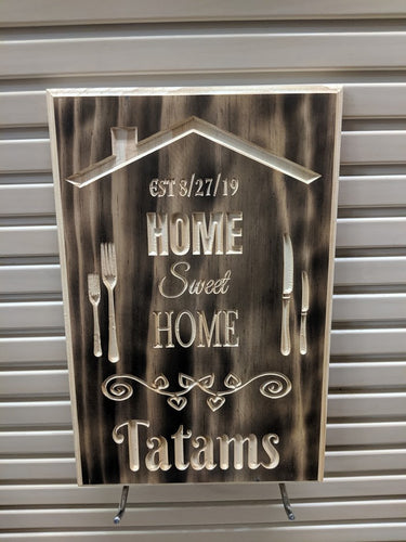 Customizable Home Sweet Home Wedding Sign, Wedding Gift, anniversary gift, custom Engraved Wood Sign
