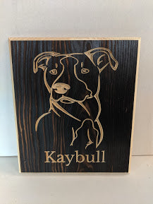 Customizable Pitbull Name Engraved Engraved Wood Sign