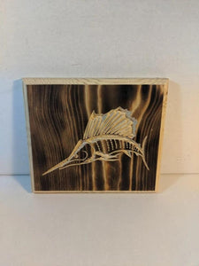 Sailfish Engraved Wood Sign