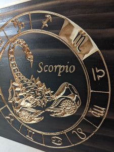 Scorpio Zodiac Engraved Wood Sign
