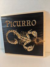 Load image into Gallery viewer, Customizable Scorpion Scorpio zodiac Name Engraved Wood Sign
