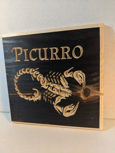 Customizable Scorpion Scorpio zodiac Name Engraved Wood Sign