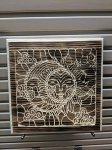 Sun and Moon Engraved Wood Sign