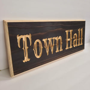 Customizable Engraved Wood Name Sign Barn Font
