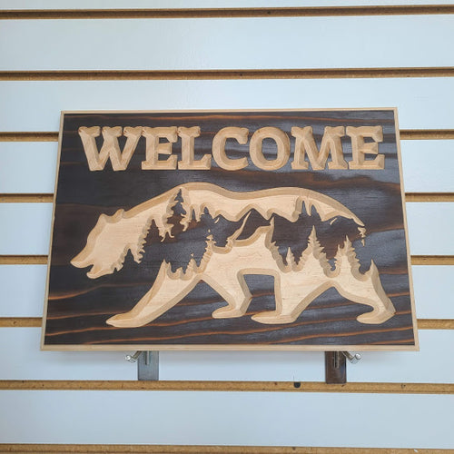 Customizable Bear and Forest Engraved Wood Sign