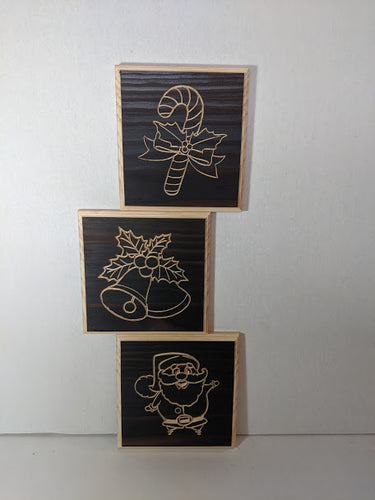 Christmas set of 3 Engraved Wood Sign, Santa, Candy Cane and Mistletoe Bells