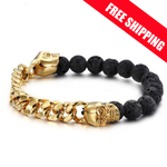 NEW DESIGN ON SALE NOW!!! Luxury jewelry Golden and black Skulls bracelet