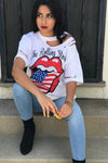The Rolling Stones Distressed Tee American Flag