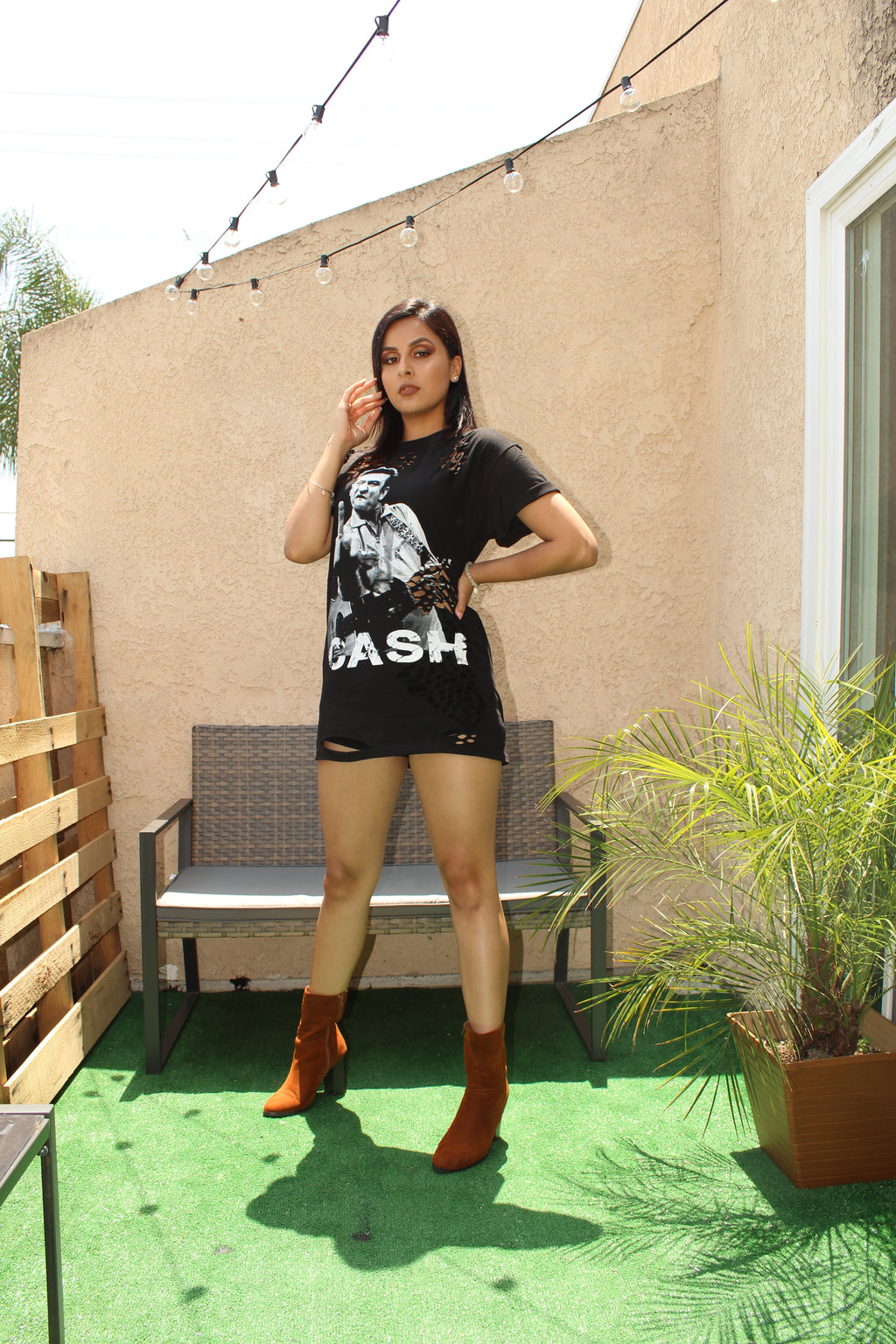 Johnny CASH Distressed T-Shirt/Dress