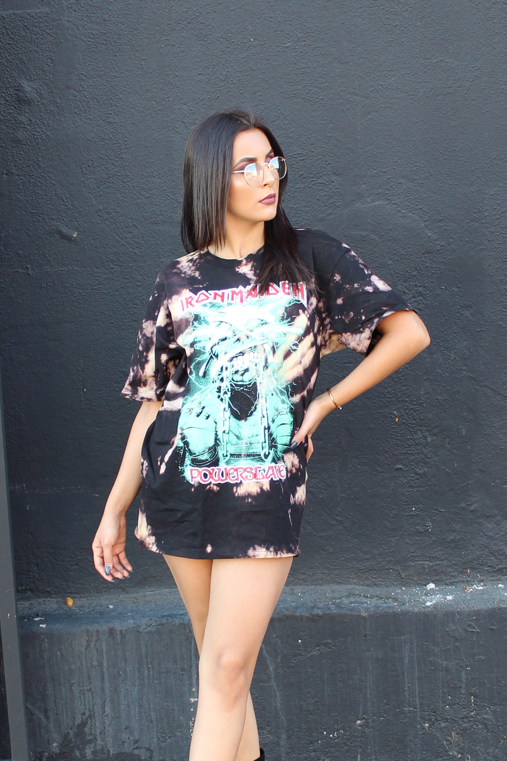 Vintage Style Iron Maiden Power Slave Bleached Oversize T Shirt/Dress