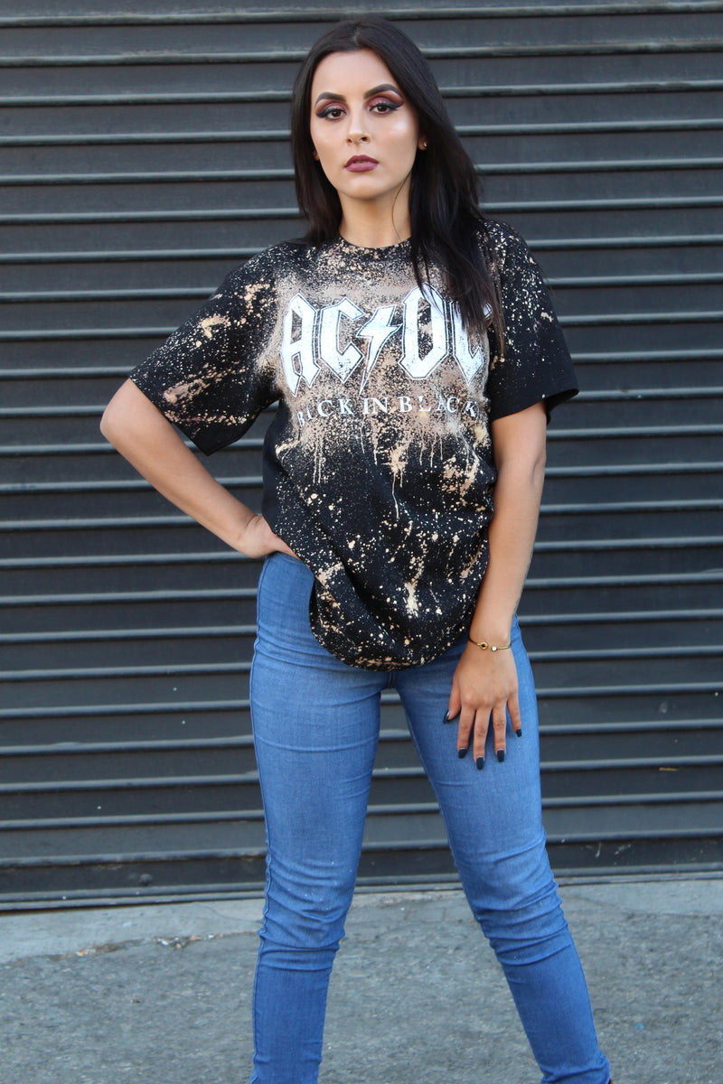 Vintage Style ACDC Oversize Bleached T Shirt