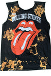 Sleeveless Rolling Stones Acid Wash Distressed Tshirt