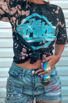 Acid Wash Distressed Crop Top Blink-182 Tee